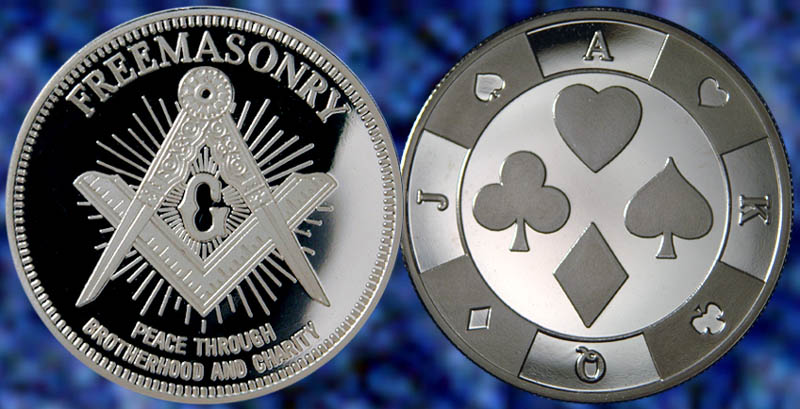 Free and Accepted Masons Silver Plated 1 oz Masonic Symbols Coin Collections