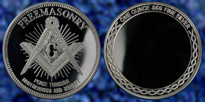 Freemason 1 oz .999 Silver hand poured cube square and compass free will framed