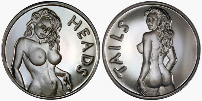Boobs novelty coin