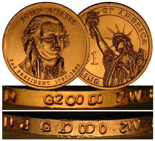 2007 P John Adams Presidential Dollar $1 Double Edge Lettering Overlapped ERROR